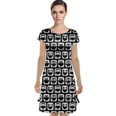 Black And White Owl Pattern Cap Sleeve Nightdresses