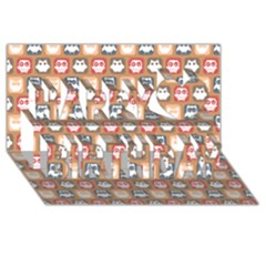 Colorful Whimsical Owl Pattern Happy Birthday 3D Greeting Card (8x4)