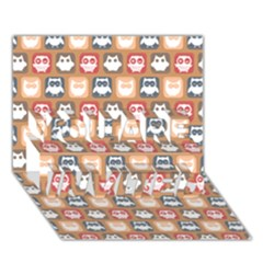 Colorful Whimsical Owl Pattern YOU ARE INVITED 3D Greeting Card (7x5)