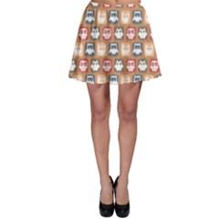 Colorful Whimsical Owl Pattern Skater Skirts