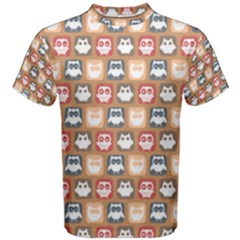 Colorful Whimsical Owl Pattern Men s Cotton Tees