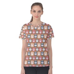 Colorful Whimsical Owl Pattern Women s Cotton Tees