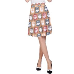 Colorful Whimsical Owl Pattern A-Line Skirts