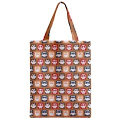 Colorful Whimsical Owl Pattern Zipper Classic Tote Bags