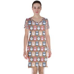 Colorful Whimsical Owl Pattern Short Sleeve Nightdresses