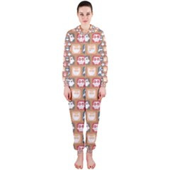 Colorful Whimsical Owl Pattern Hooded Jumpsuit (ladies)