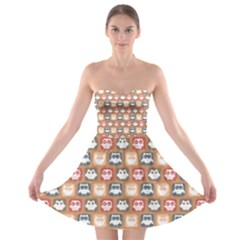 Colorful Whimsical Owl Pattern Strapless Bra Top Dress