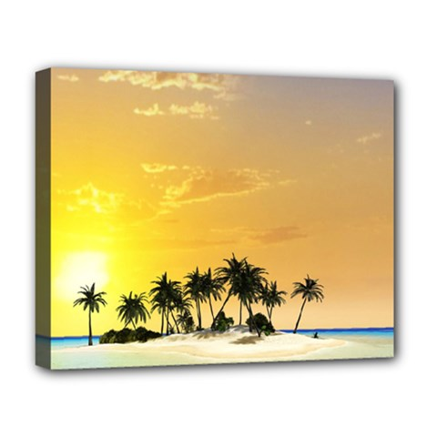 Beautiful Island In The Sunset Deluxe Canvas 20  x 16