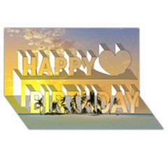 Beautiful Island In The Sunset Happy Birthday 3D Greeting Card (8x4)