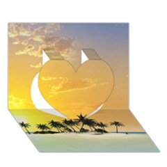 Beautiful Island In The Sunset Heart 3D Greeting Card (7x5)