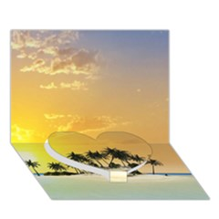 Beautiful Island In The Sunset Heart Bottom 3D Greeting Card (7x5)