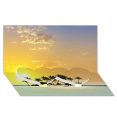 Beautiful Island In The Sunset Twin Heart Bottom 3D Greeting Card (8x4)