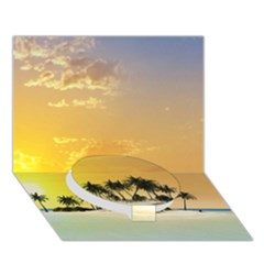 Beautiful Island In The Sunset Circle Bottom 3d Greeting Card (7x5)