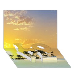 Beautiful Island In The Sunset LOVE Bottom 3D Greeting Card (7x5)
