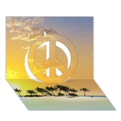 Beautiful Island In The Sunset Peace Sign 3D Greeting Card (7x5)