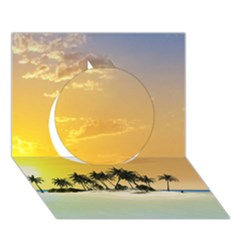 Beautiful Island In The Sunset Circle 3D Greeting Card (7x5)
