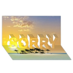 Beautiful Island In The Sunset SORRY 3D Greeting Card (8x4)