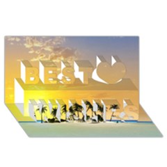 Beautiful Island In The Sunset Best Wish 3D Greeting Card (8x4)