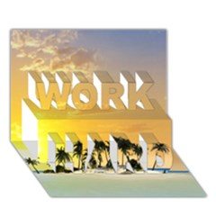 Beautiful Island In The Sunset WORK HARD 3D Greeting Card (7x5)