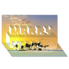 Beautiful Island In The Sunset Merry Xmas 3D Greeting Card (8x4)