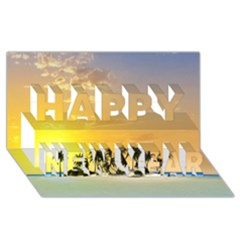 Beautiful Island In The Sunset Happy New Year 3D Greeting Card (8x4)
