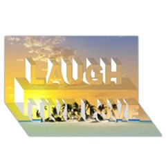 Beautiful Island In The Sunset Laugh Live Love 3D Greeting Card (8x4)
