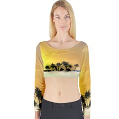Beautiful Island In The Sunset Long Sleeve Crop Top