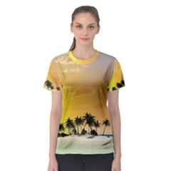 Beautiful Island In The Sunset Women s Sport Mesh Tees