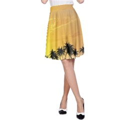 Beautiful Island In The Sunset A-Line Skirts