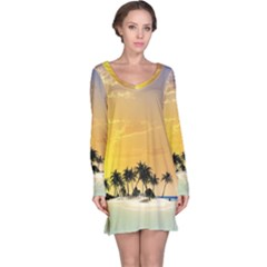 Beautiful Island In The Sunset Long Sleeve Nightdresses