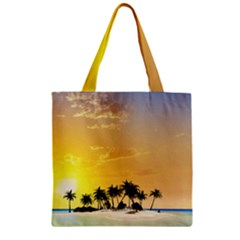 Beautiful Island In The Sunset Zipper Grocery Tote Bags
