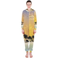Beautiful Island In The Sunset Hooded Jumpsuit (ladies)