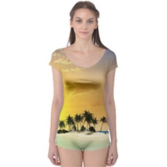 Beautiful Island In The Sunset Short Sleeve Leotard