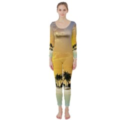 Beautiful Island In The Sunset Long Sleeve Catsuit