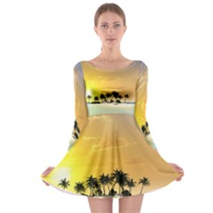 Beautiful Island In The Sunset Long Sleeve Skater Dress