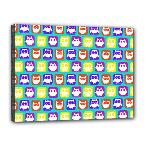 Colorful Whimsical Owl Pattern Canvas 16  x 12