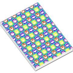 Colorful Whimsical Owl Pattern Large Memo Pads