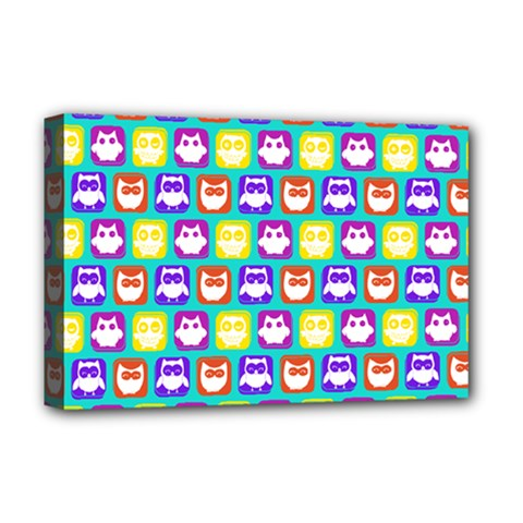 Colorful Whimsical Owl Pattern Deluxe Canvas 18  x 12