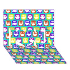 Colorful Whimsical Owl Pattern I Love You 3D Greeting Card (7x5)