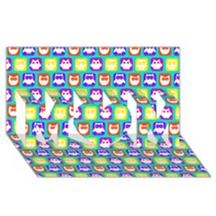 Colorful Whimsical Owl Pattern Mom 3d Greeting Card (8x4)