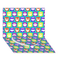 Colorful Whimsical Owl Pattern Heart Bottom 3D Greeting Card (7x5)