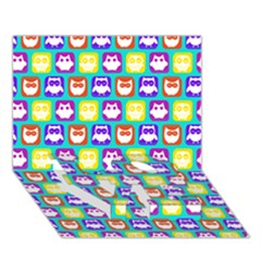 Colorful Whimsical Owl Pattern Love Bottom 3d Greeting Card (7x5)