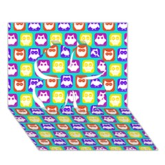 Colorful Whimsical Owl Pattern Clover 3d Greeting Card (7x5)