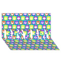 Colorful Whimsical Owl Pattern Best Bro 3d Greeting Card (8x4)