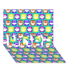 Colorful Whimsical Owl Pattern HOPE 3D Greeting Card (7x5)
