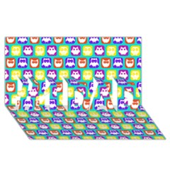 Colorful Whimsical Owl Pattern #1 DAD 3D Greeting Card (8x4)