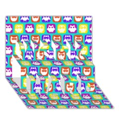 Colorful Whimsical Owl Pattern WORK HARD 3D Greeting Card (7x5)