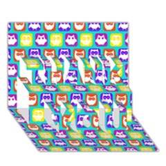 Colorful Whimsical Owl Pattern THANK YOU 3D Greeting Card (7x5)