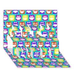 Colorful Whimsical Owl Pattern Get Well 3D Greeting Card (7x5)