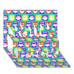 Colorful Whimsical Owl Pattern You Rock 3D Greeting Card (7x5)